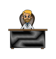 Drawing doctor man working desk chair consult vector