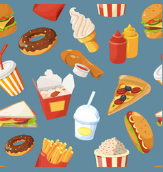 Fast food seamless pattern with cold water vector