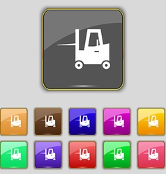 Forklift icon sign set with eleven colored buttons vector