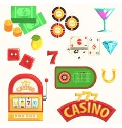 Gambling and casino night club set of symbols vector