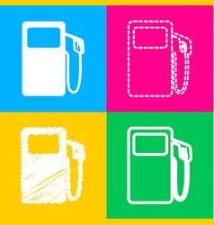 Gas pump sign four styles of icon on four color vector