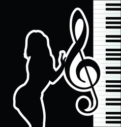 Girl with violin key silhouette vector
