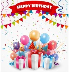 Happy birthday celebration with confetti and ribbo vector image