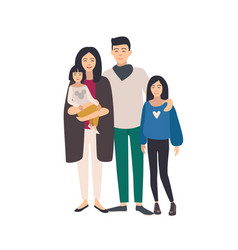 large loving asian family father mother holding vector image