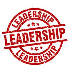Leadership round red grunge stamp vector
