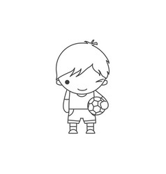Linear cute cartoon winking little boy with a vector