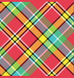 Madras diagonal fabric texture pixeled seamless vector