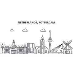 Netherlands rotterdam architecture line skyline vector