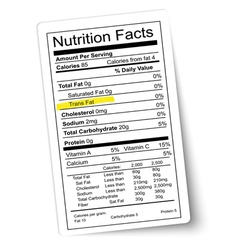 Nutrition facts label fat highlighted vector