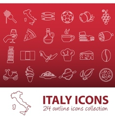 Outline italy icons vector