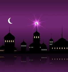 Ramadan Kareem Night Background with Silhouette vector image vector image