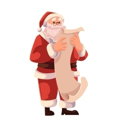 Santa claus in glasses reading a long scroll of vector