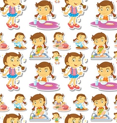 Seamle little girl doing chores vector