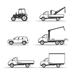 Set of various transportation and construction vector