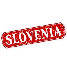 Slovenia red square grunge retro style sign vector