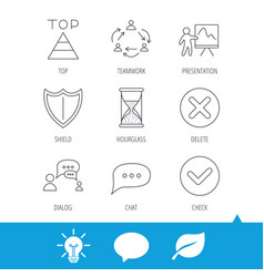 teamwork presentation and dialog icons vector image