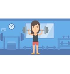 Woman lifting barbell vector