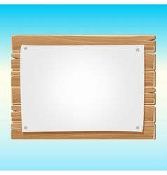 Wooden blank sign board with paper blue sky vector
