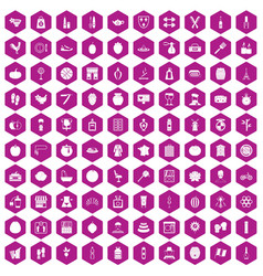100 beauty product icons hexagon violet vector