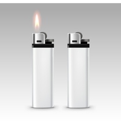 Blank White Plastic Lighters with Flame Isolated vector image