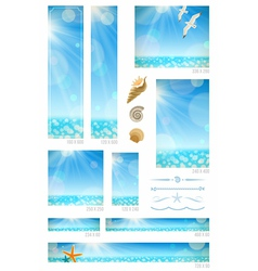 Standard web banners with sunny seascape vector