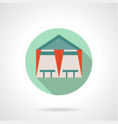 Tent cafe flat round icon vector