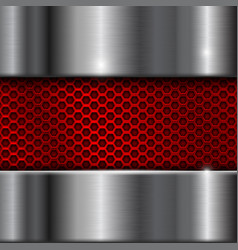 Metal brushed background with red perforation vector