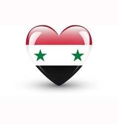 Heart-shaped icon with national flag of syria vector