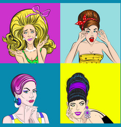 Pop art beautiful women square concept vector