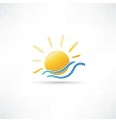 Sun and sea icon vector