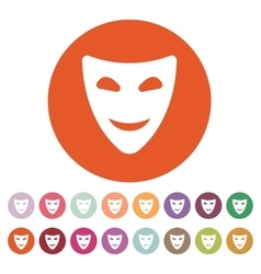 The smiling mask icon comedy and theater symbol vector