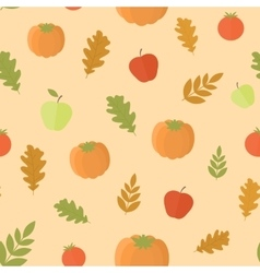 Seamless background with pumpkins and leaves vector