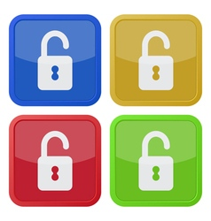 Set of four square icons with open padlock vector