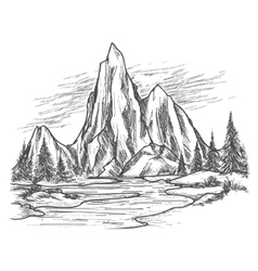Mountain lake with pine trees vector image