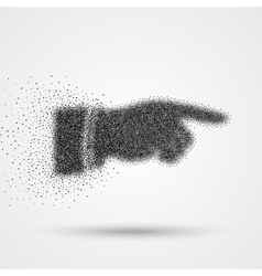Black hand particle silhouette with pointing finge vector image