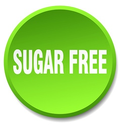 Sugar free green round flat isolated push button vector