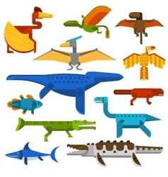Sea and flying dinosaurs jungle forest wildlife vector