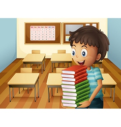 A boy carrying a pile of books vector image