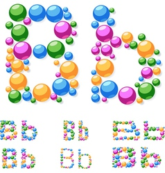 Alphabet symbols of colorful bubbles or balls vector image
