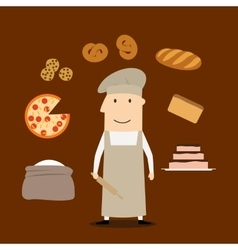 Baker man with pastry and bakery vector image