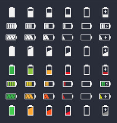 Battery charging icon set vector