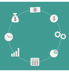 Business icon set Dash line circleempty Money vector image vector image