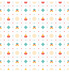 christmas seamless pattern with candle and bell vector image