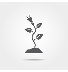 Eco electric plug with leaves icon vector
