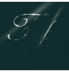 Glass Letters F writing in Italics vector image