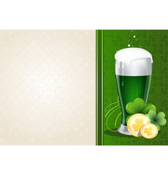 Green beer with gold coins and clover vector image vector image