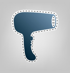 hair dryer sign blue icon with outline vector image