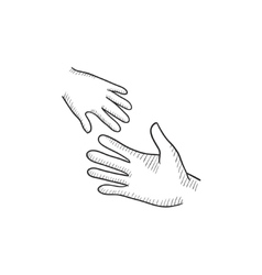 Hands of parent and child sketch icon vector image