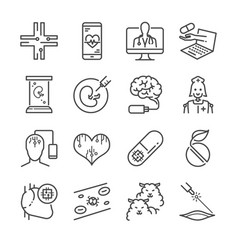 medical technology line icon set vector image vector image