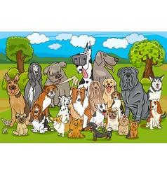 purebred dogs group cartoon vector image vector image